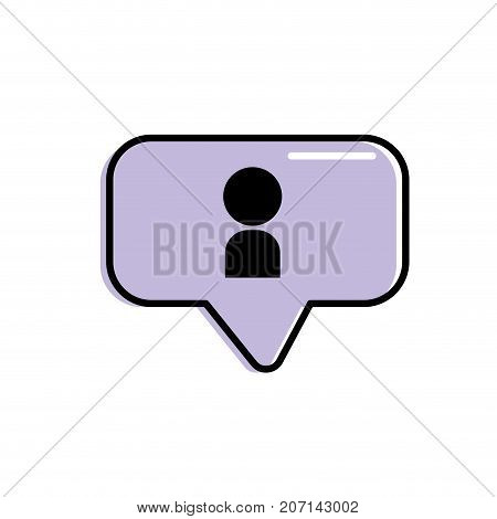 chat bubble with user icon inside vector illustration