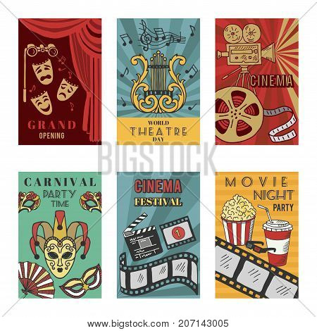 Posters design set with theatre and cinema symbols. Vector illustrations isolate. Collection of theater and cinema banner entertainment