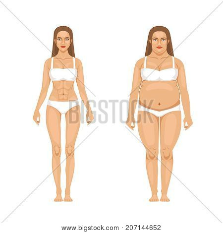 Woman weight loss with sport and diet. Vector illustrations in cartoon style. Woman body transformation, overweight and thin