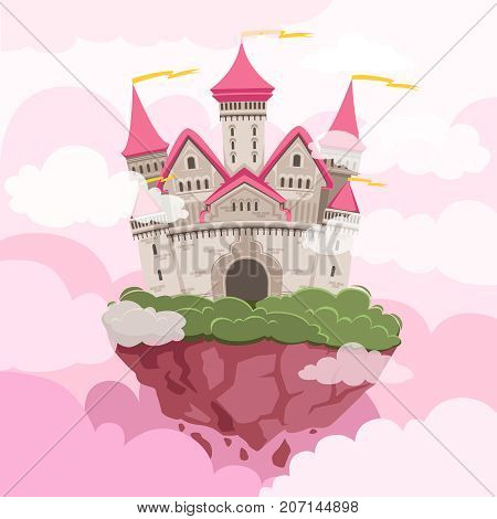 Fairytale castle with big towers in the sky. Fantasy landscape background. Fantasy castle with tower in sky and pink clouds. Vector illustration