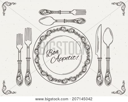 Banquet tableware. Vintage dish with spoon, fork and knife. Symbols of eating on retro vector poster. Knife and spoon, plate and fork illustration