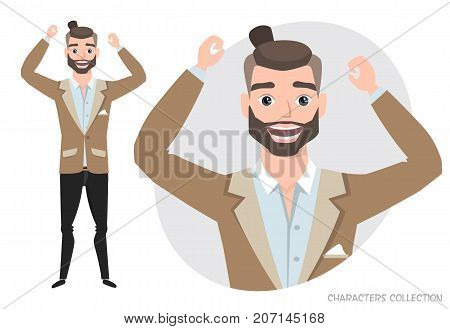 The guy is happy and smiling. Cartoon style man. Emotion of joy and glee on the man face. The man portrait.