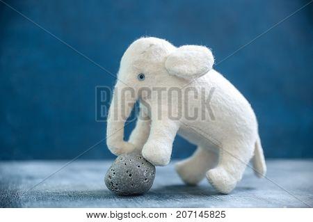 Handmade Toy White Elephant With Gray Stone