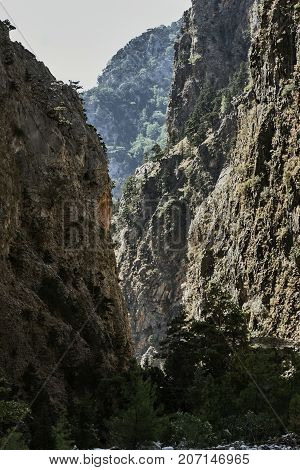 Rocky gorge Samaria on the island of Crete in Greece