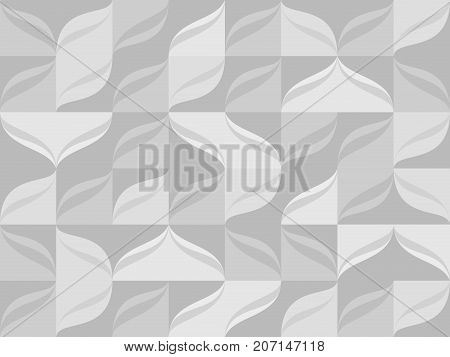 Seamless pattern from gray tiles and waves background. Light abstract vector waves motion pattern from square tiles illustration.