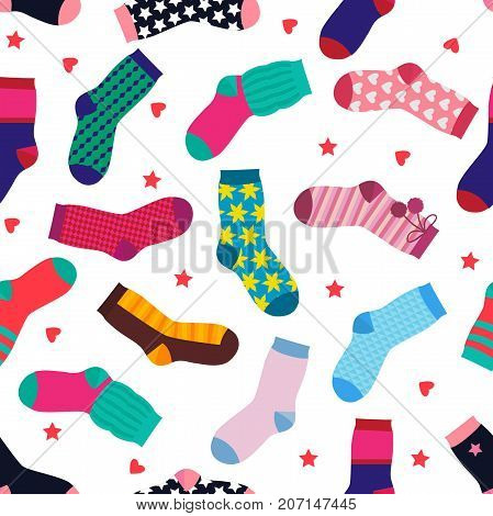 Vector seamless pattern with different funny socks. Sock seamless pattern, illustration of clothing cotton, warm and knitwear hosiery