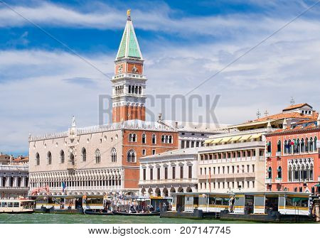 St Marks Campanile and the Doge's Palace at St Mark's Square in Venice