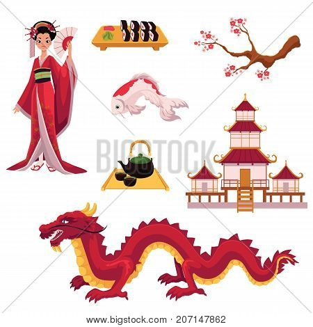 Set of Japanese culture elements - geisha, sakura, koi, sushi, pagoda, tea, dragon, cartoon vector illustration isolated on white background. Set of Japanese culture symbols, icons, elements
