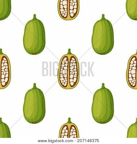 Baobab seamless pattern, organic nutrition, exotic detox fruit. Made in cartoon flat style. Vector illustration