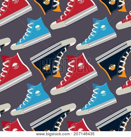Pictures of colored sneakers. Vector seamless pattern with fashion footwear shoelace illustration