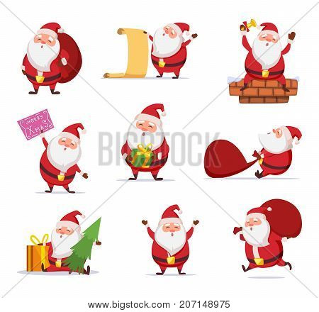 Christmas characters of funny santa in dynamic poses. Vector mascot design in cartoon style. Christmas santa claus, happy pose cartoon illustration