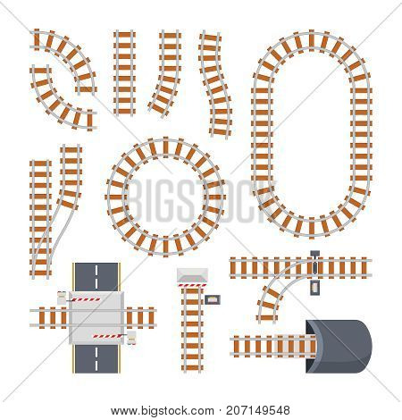 Different train constructions and top view of rail road. Vector constructor. Parts of railway and railroad for train traffic illustration