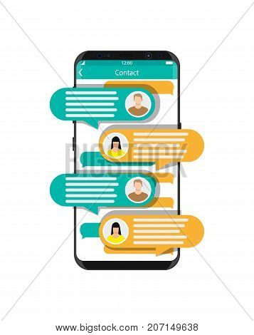 Smartphone with messaging sms app. Chat bubbles on mobile phone touchscreen. Chat between man and woman. Social netwroking. Discussion, talking, assistance. Vector illustration in flat style