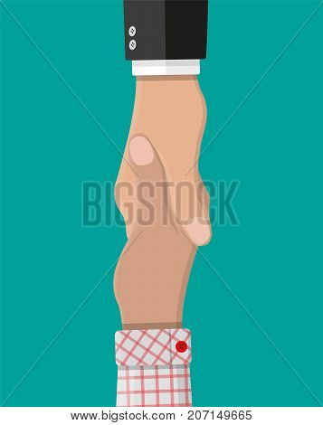 Handshake between two people. Shaking hands. Concept of success deal, partnership, agreement. Greeting shake, casual handshaking. Vector illustration in flat style