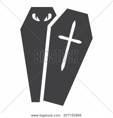 Halloween Coffin glyph icon, halloween and scary, dead sign vector graphics, a solid pattern on a white background, eps 10.