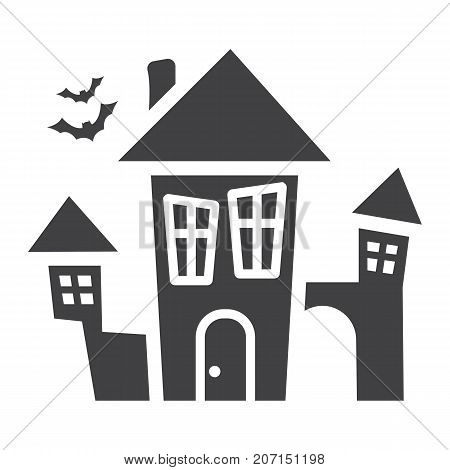 Scary House glyph icon, halloween and scary, creepy home sign vector graphics, a solid pattern on a white background, eps 10.