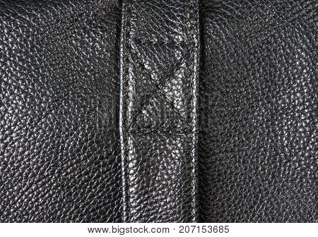 closeup of buckles, clasps, zippers, pockets, fasteners, fittings and seams on the black leather hand bag