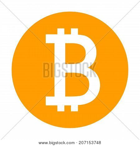 Bitcoin icon for internet money. Crypto currency symbol for using in web projects or mobile applications. Blockchain based secure cryptocurrency. Isolated vector sign.