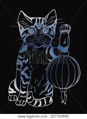 Lucky maneki neko cat with lantern. Traditional japanese symbol. Graphic illustration. Place for text.