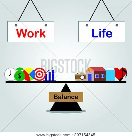 Vector Business Concept As Illustration Of Work & Life Board Are Hung Above And Black Seesaw Is Balancing Five Business Icons And Five Leisure Icons Equally On Gray Background Means Work Life Balance.
