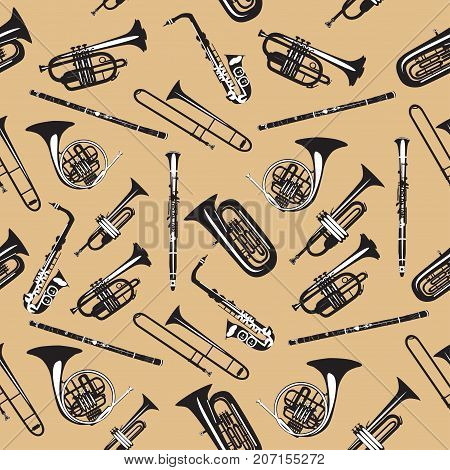 Vector seamless pattern with wind musical instruments. Saxophone, clarinet, trumpet, trombone, didgeridoo, french horn and tuba. Black and white woodwind and brass musical instruments.