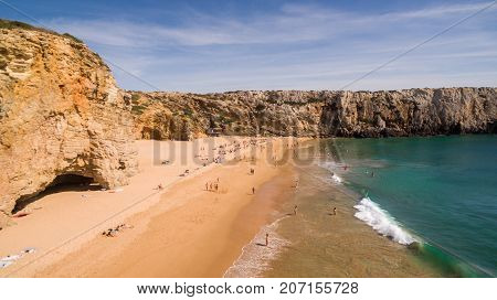 Aerial view of people resting on Beliche beach, Algarve, Portugal
