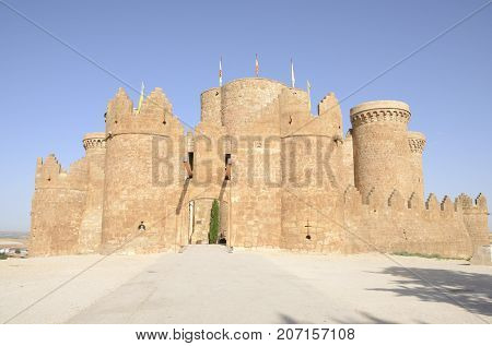 BELMONTE, SPAIN -JULY 30, 2017: Medieval castle on the hill in the village of Belmonte province of Cuenca Spain.