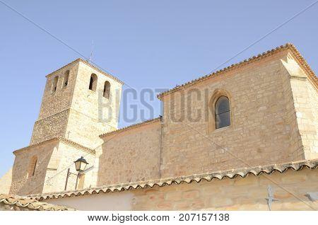 Collegiate church in Belmonte a village located in the province of Cuenca Castile-La Mancha Spain.