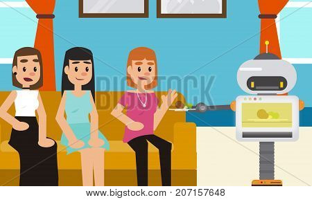 Robot microwave snacks to his owner and her friends at home. Personal robot assistance futuristic concept illustration vector.