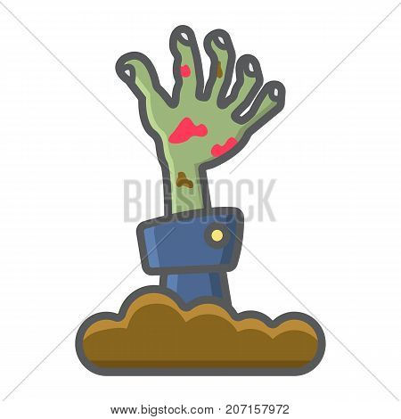 Zombie hand filled outline icon, halloween and scary, dead sign vector graphics, a colorful line pattern on a white background, eps 10.