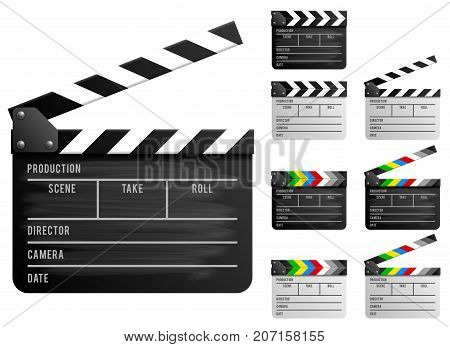 Black and white clapper board set. Realistic vector illustration.