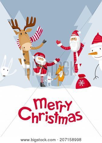 Vector Christmas greeting card. Santa Claus and cute cartoon forest animals: elk deer fox and hares wish you a Merry Christmas. For posters banners sales and other winter events.