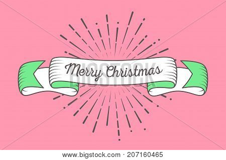 Trendy retro ribbon with text Merry Christmas and light rays sunburst. Colorful banner with ribbon for design greeting web. Vector Illustration