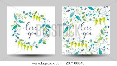 Set of the stylized wreath of flowers and herbs and herbal background. Vector floral arrangements for Valentine's Day wedding Mother's Day sales and other events for prints greeting cards posters invitations.