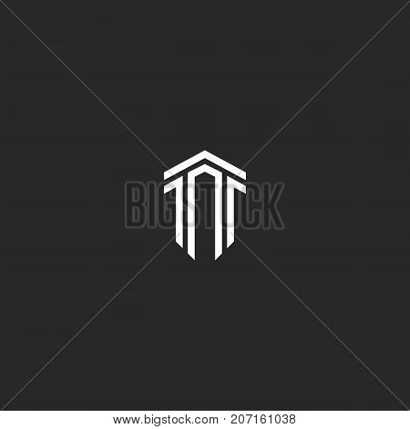 Letter T Logo Monogram Combination Of Two Letters Tt Parallel Lines Shape An Isometric Form Of A Shi