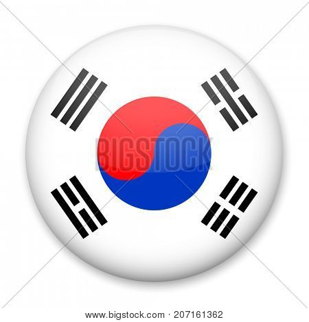 Flag of South Korea in the form of a round button with a light glare and a shadow. The symbol of Independence Day, a souvenir, a button for switching the language on the site, an icon.