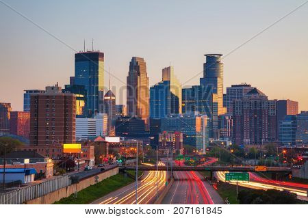 Downtown Minneapolis Minnesota at the sunrise time