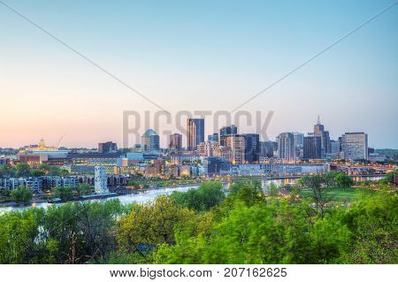 Overview of downtown St. Paul MN at sunset