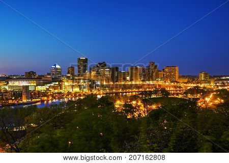Overview of downtown St. Paul MN at night