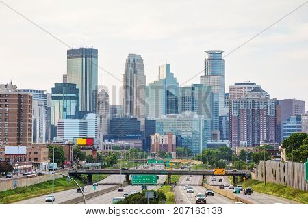 Downtown Minneapolis Minnesota early in the morning