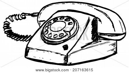 Old phone with rotary disk. Vintage style telephone with handset. Historic model, mechanism for articles, banners, advertising, design, prints, posters.