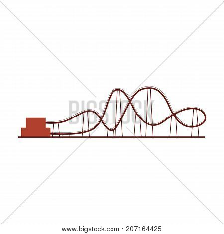Roller coaster, rollercoaster ride in amusement park, side view vector icon, illustration isolated on white background. Cartoon illustration of rollercoaster amusement park ride