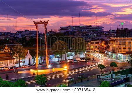 Giant swing landmark of bangkok city in sunset time / Sao Ching Cha landmark in Bangkok city