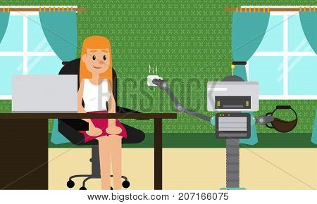 Domestic robot brings cup of coffee to his young female owner at office. Personal robot assistance futuristic concept illustration vector.