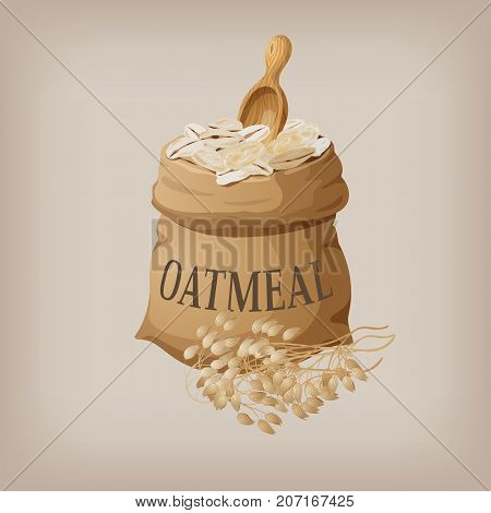Oatmeal flakes in the bag. Vector illustration EPS10