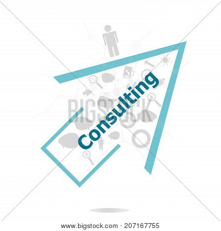 Text Consulting. Business Concept . Data Protection And Secure Elements Inforgaphic Set