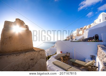 Abstract view of the cycladic style of traditional houses at Santorini, Greece.
