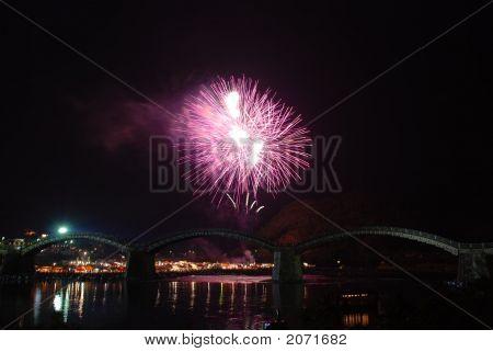 Fireworks at Kintaikyo Bridge Iwakuni Japan in summer 2007 poster