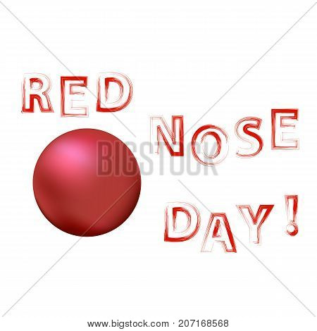Clown Red Nose Day Banner Isolated on White Background