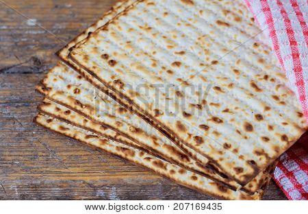 Jewish Bread Matza On Wood Matzah